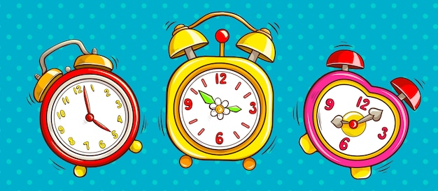 Pop art alarm clocks set on half tone background. Free Vector