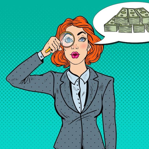 Поп-арт удивил бизнес-леди с лупой нашел деньги. Premium векторы