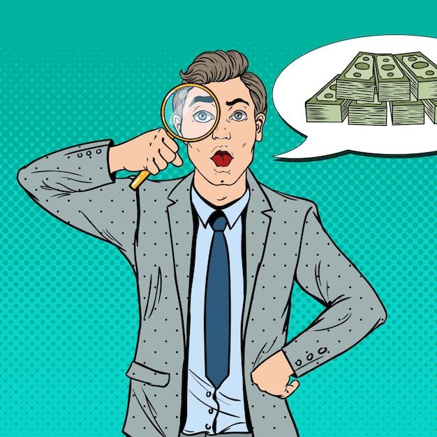 拡大鏡を持つビジネスマンはお金を見つけました。 Premiumベクター