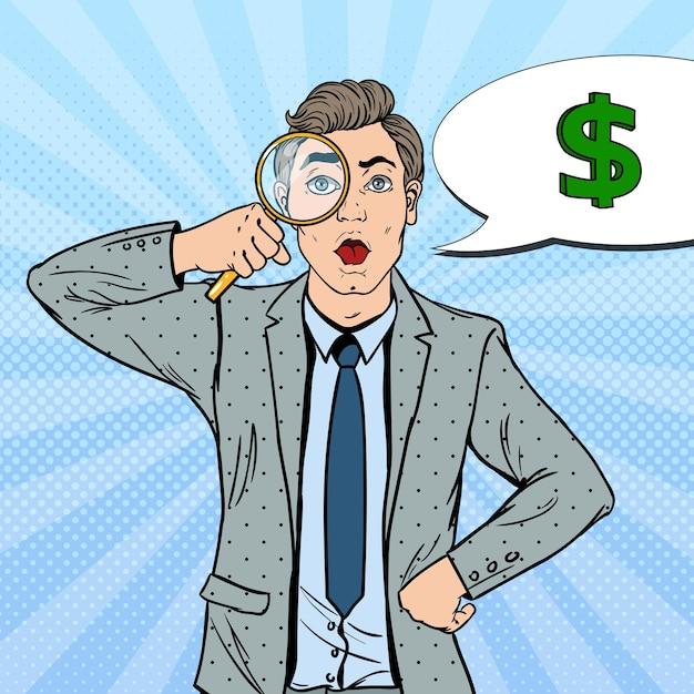 Поп-арт удивил бизнесмена с лупой, нашел деньги. Premium векторы