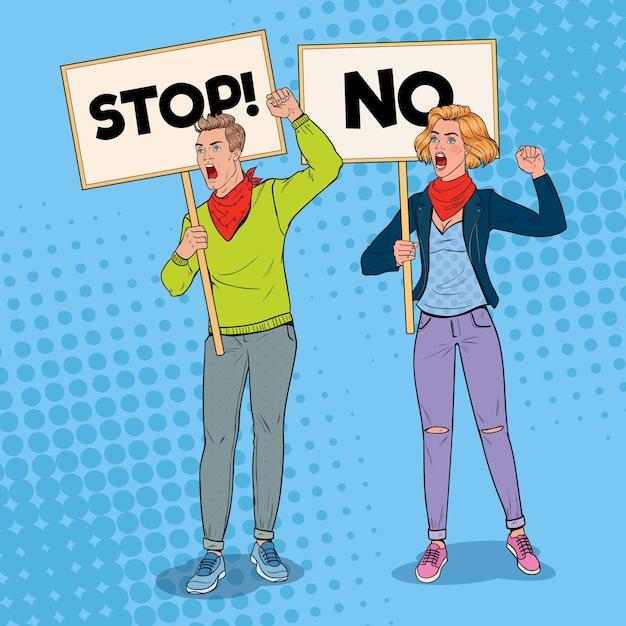 팝 아트 화가 남자와 여자 배너와 피켓에 항의. 파업과 항의 개념. 데모에 외치는 사람들. 프리미엄 벡터