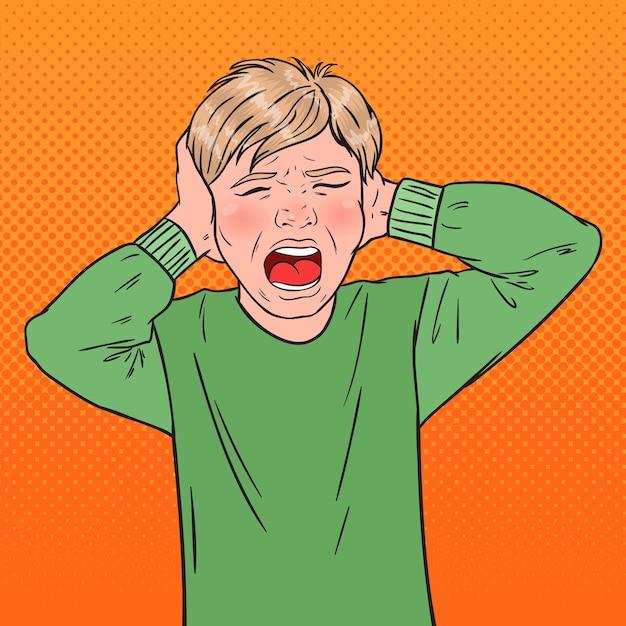 彼の髪を引き裂くポップアート怒っている悲鳴を上げる少年 Premiumベクター