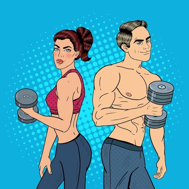 팝 아트 운동 남자와 여자 아령으로 운동. 삽화 프리미엄 벡터