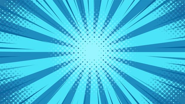 푸른 빛이 만화 스타일의 중심에서 흩어져있는 팝 아트 배경. 프리미엄 벡터