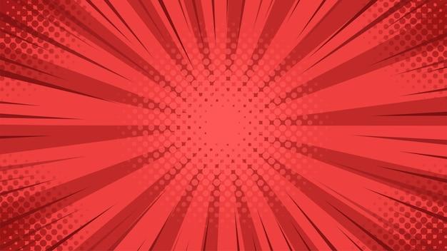 漫画のスタイルでセンターから散乱する赤い光でポップアートの背景。 Premiumベクター