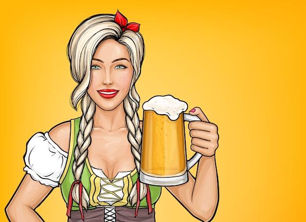 Поп-арт красивая женщина официантка держит в руке стакан пива. празднование октоберфест, блондинка улыбается в традиционном немецком костюме с алкогольным напитком. Бесплатные векторы