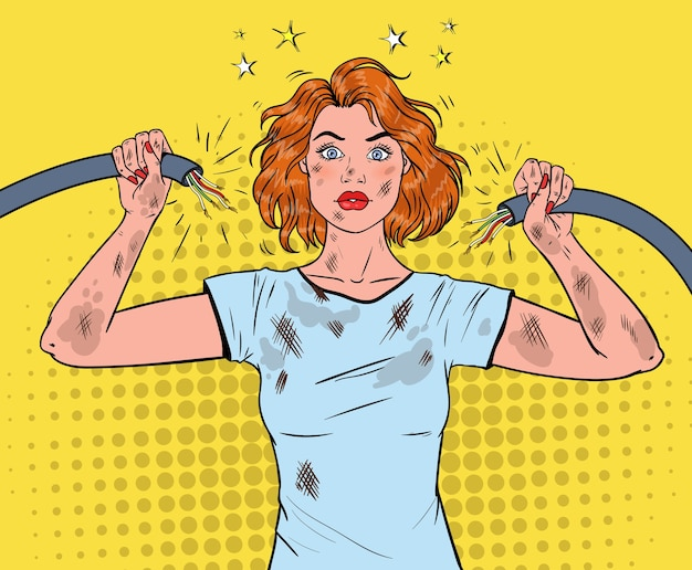 Pop art beautiful woman holding broken electrical cable after domestic accident. Premium Vector