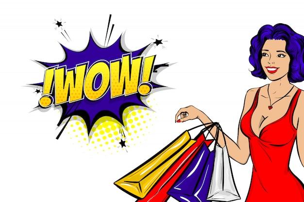 Поп-арт синие волосы женщина получить рекламировать вау продажи на комический текст речи пузырь. Premium векторы