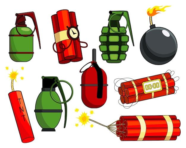 Коллекция бомб поп-арт в стиле ретро комиксов Premium векторы