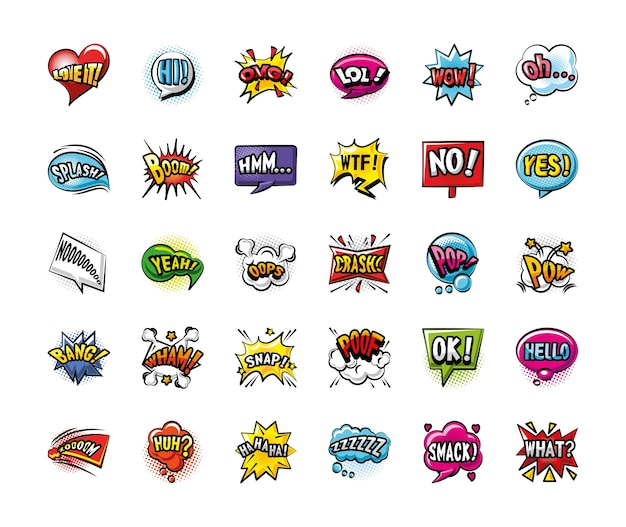Поп-арт пузыри подробный стиль 30 иконок дизайн ретро-выражения комиксов Premium векторы