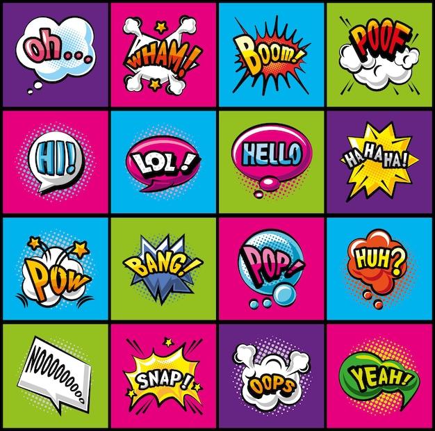 Поп-арт пузыри подробный дизайн коллекции икон стиля ретро-выражения комиксов Premium векторы