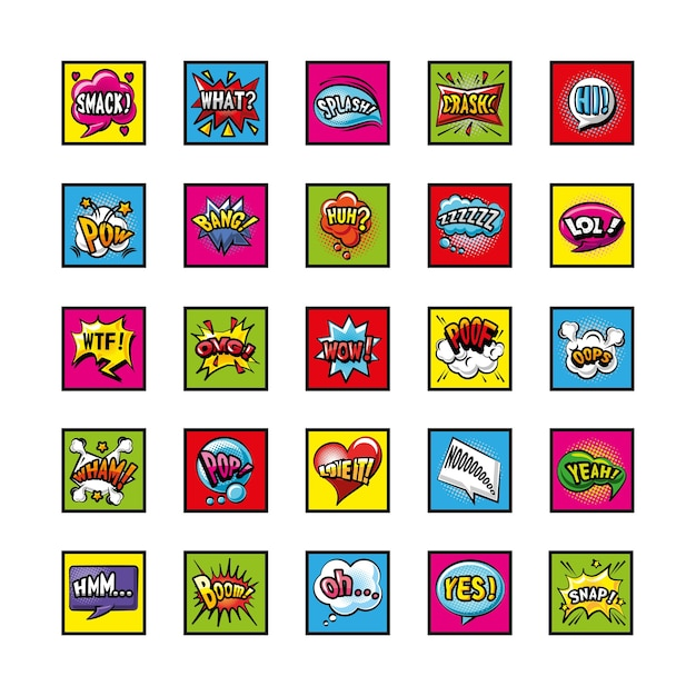 Pop art bubbles detailed style symbols set design of retro expression comic Premium Vector