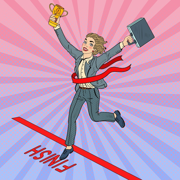 ゴールデンウィナーカップフィニッシュラインを横切るとポップアートビジネスの女性。 Premiumベクター