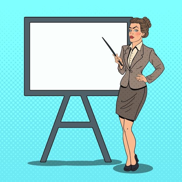 ポインターのスティックとホワイトボードのポップアートビジネス女性。 Premiumベクター