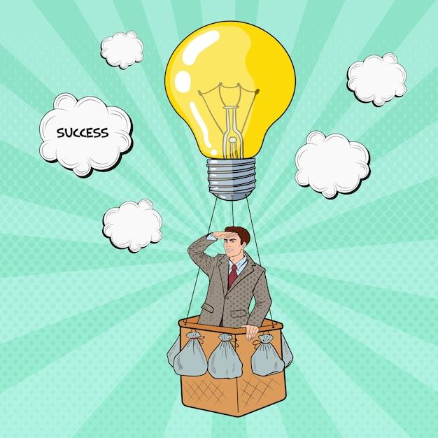Поп-арт бизнесмен летит на воздушном шаре в поисках успеха. Premium векторы