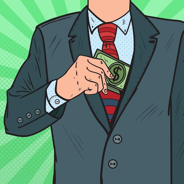スーツのジャケットのポケットにお金を入れるポップアートの実業家 Premiumベクター
