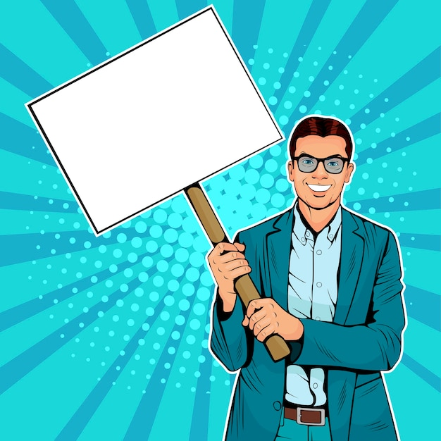 Pop art businessman with blank banner on wooden stick. Premium Vector
