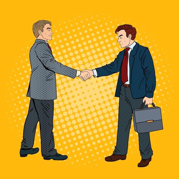 ポップアートビジネスマン握手ビジネス契約。 Premiumベクター