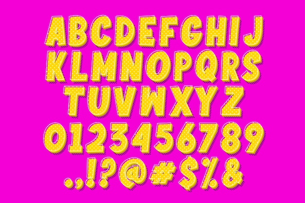 팝 아트 만화 글꼴 및 번호 무료 벡터