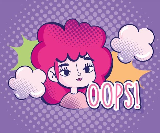 ポップアート漫画少女ハーフトーン赤髪コミック雲爆発デザイン Premiumベクター