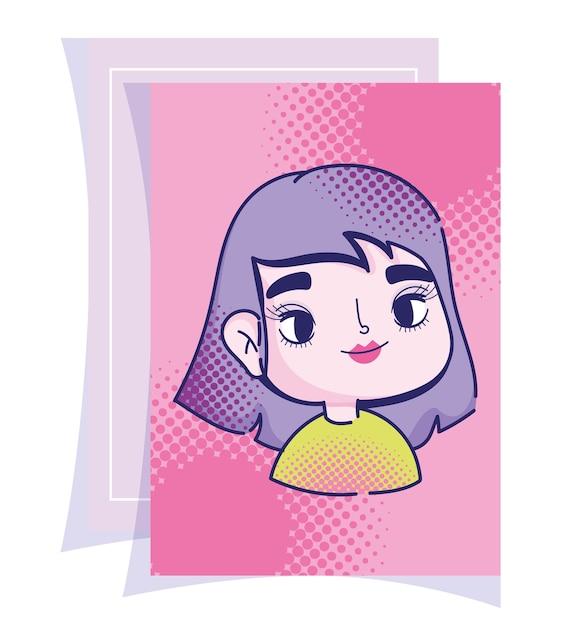 ポップアート漫画の女の子紫髪ハーフトーンコミックデザイン Premiumベクター