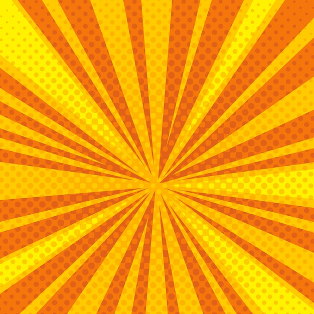 Pop art cartoon retro blast sunburst vector background Premium Vector