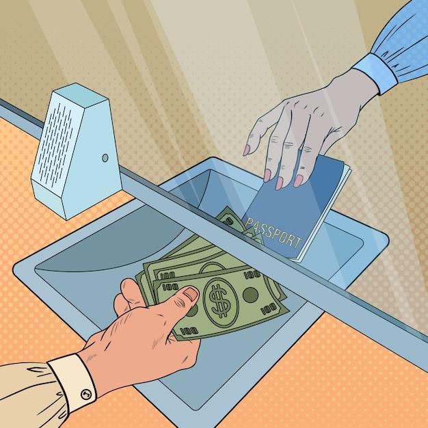 顧客に現金を与えるポップアート店員。外貨両替の概念。銀行の引き出し、財務運営。 Premiumベクター