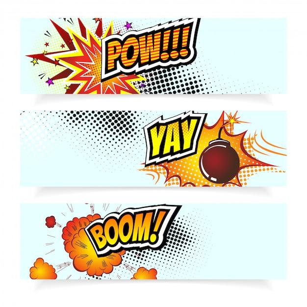 Pop art comic book style explosion bomb banners Premium Vector