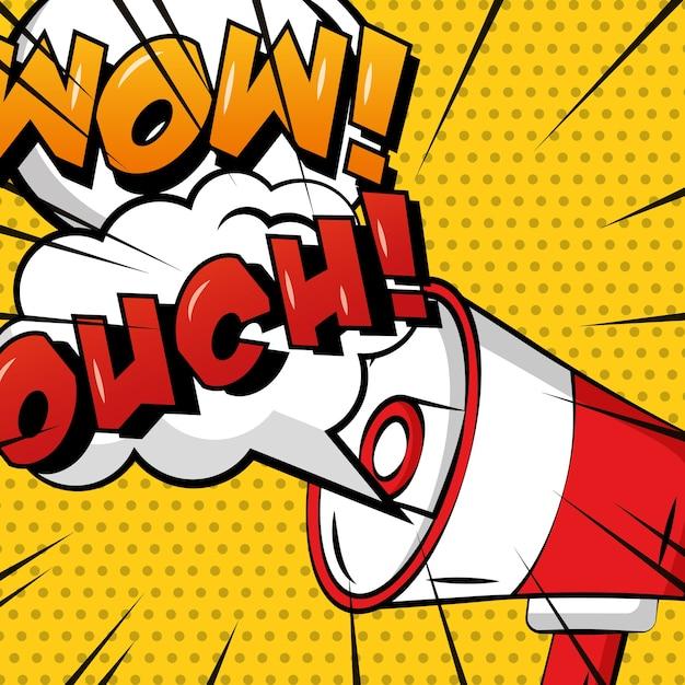 Pop art comic megaphone speech bubble ouch wow polka dots Premium Vector