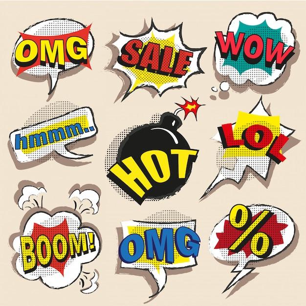Pop art comic speech bubble set with abbreviations Premium Vector