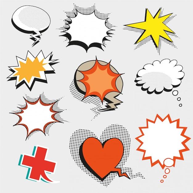 Pop art comic speech bubbles, shapes and signs Premium Vector