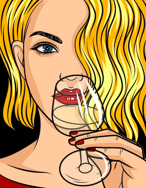 Pop art comic style illustration, blonde girl with red lipstick and wavy hair Premium Vector