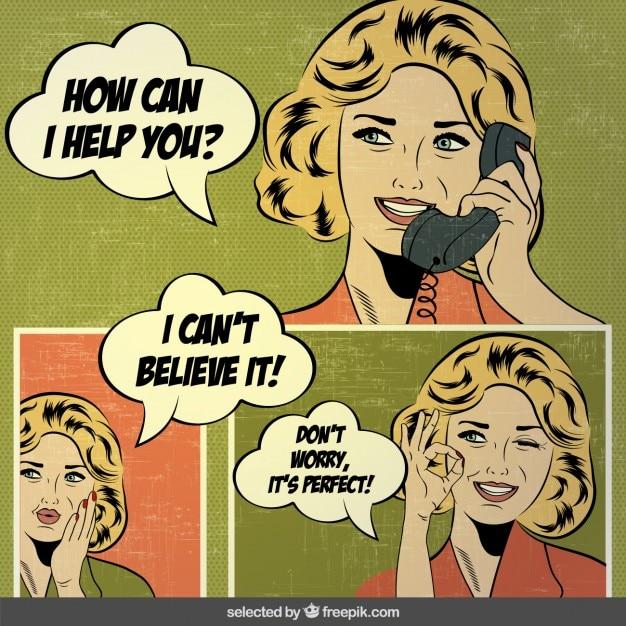 pop art comics with women vector free download