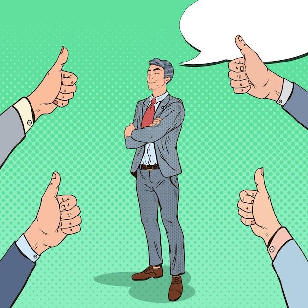 Поп-арт уверенно бизнесмен и руки, показывая пальцы вверх. Premium векторы