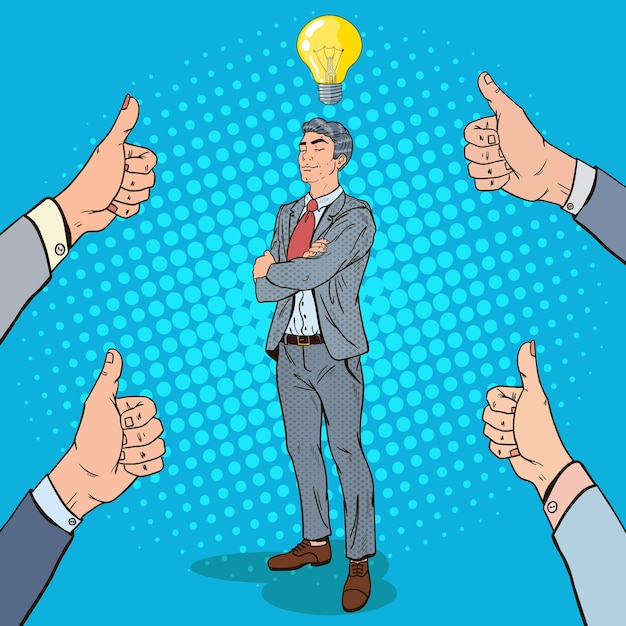 Поп-арт уверенно бизнесмен с лампочкой идеи и руками показывает палец вверх. Premium векторы