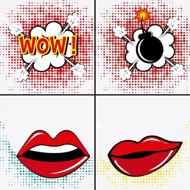 Pop art design. Premium Vector