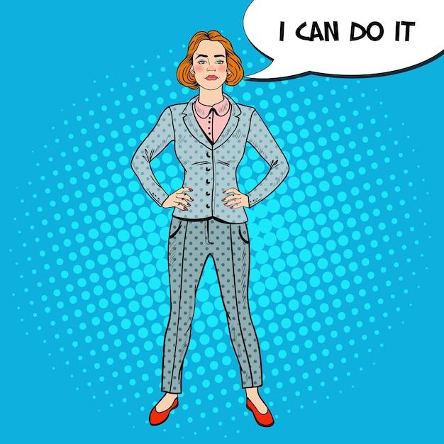 ポップアートエレガントな自信を持って成功したビジネスウーマン。 Premiumベクター