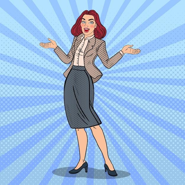 ポップアートは、幸せなビジネスの女性を興奮させた。 Premiumベクター