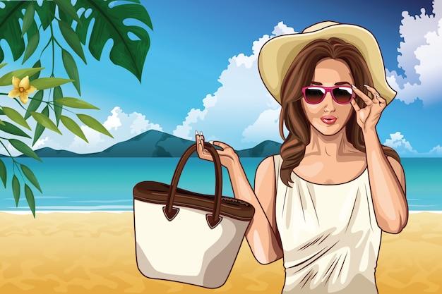 Pop art fashion and beautiful woman cartoon Free Vector
