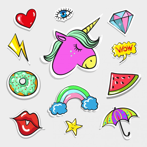 Pop art fashion quirky and cute badges, patches Premium Vector
