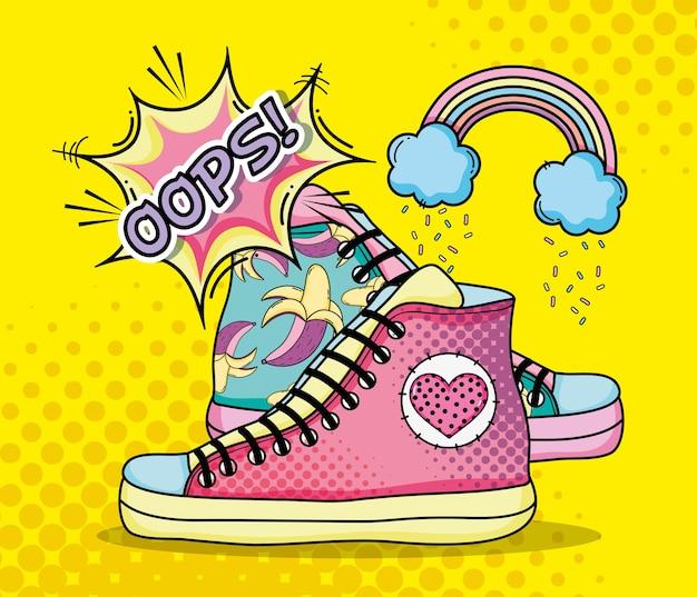 Pop Art Fashion Shoes Cartoons Premium Vector