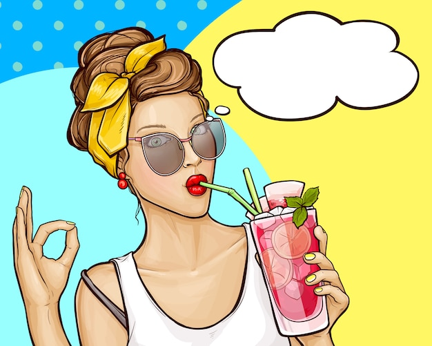 Pop art girl drinks cocktail and shows sign ok Free Vector
