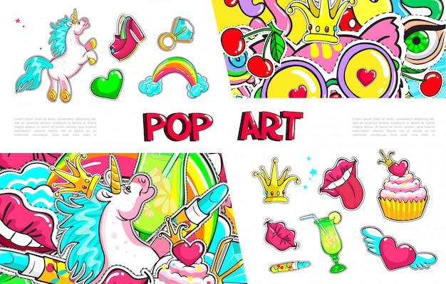 Pop art girl fashion stickers collection with unicorn shoe winged heart ring with diamond rainbow crown lips tongue cocktail cake Free Vector