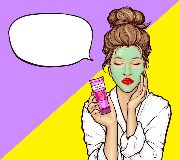 Pop art girl with cosmetic mask on face Free Vector