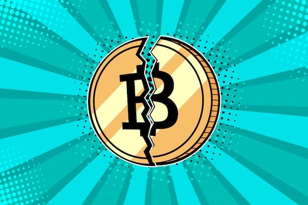 pop art bedroom decor online information.htm pop art golden bitcoin coin broken in half premium vector  pop art golden bitcoin coin broken in
