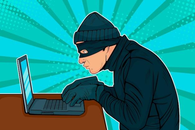 Pop art hacker thief hacking into a computer Premium Vector