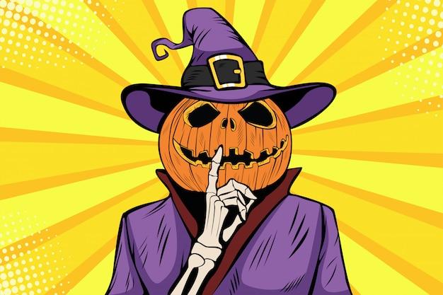 Pop art halloween pumpkin character make silence gesture Premium Vector