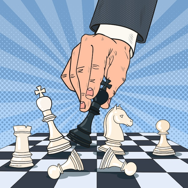 Pop art hand of businessman playing chess. business strategy concept. Premium Vector