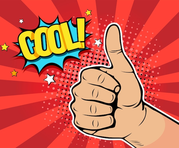 Pop art hand showing thumb up with inscription cool Premium Vector
