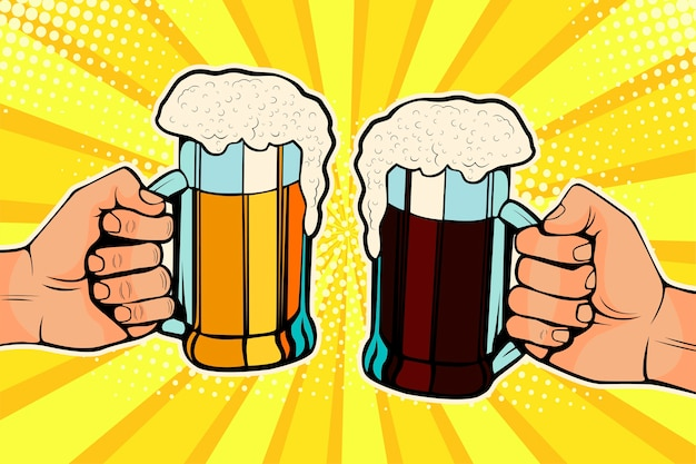 Pop art hands with mugs of beer. oktoberfest celebration. Premium Vector